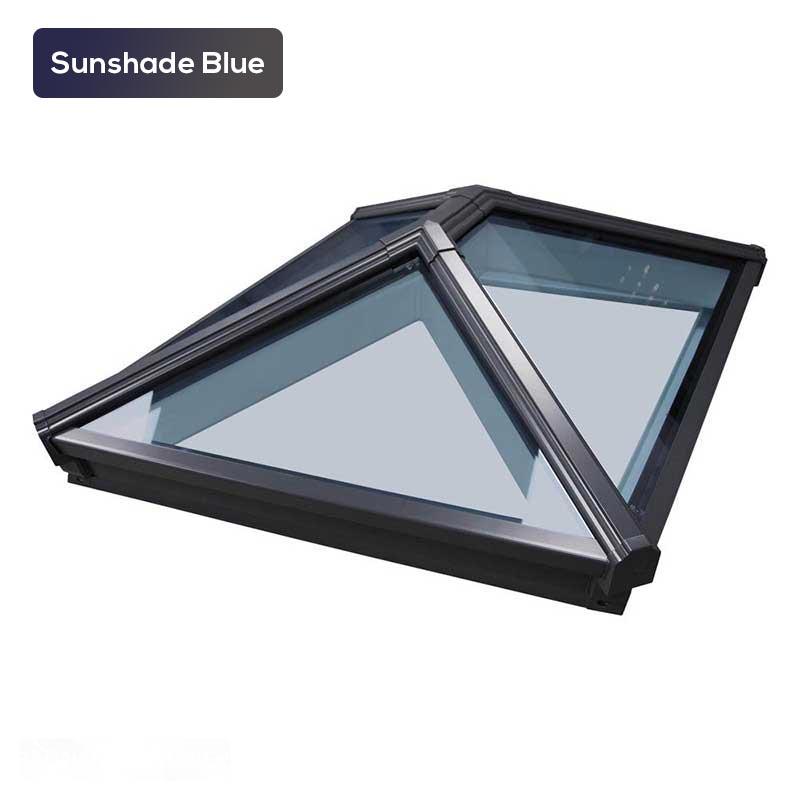 Roof lantern with sunshade blue glass